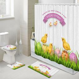 Yellow Chicken and Egg Shower Curtain Toilet Cover Rug Bath